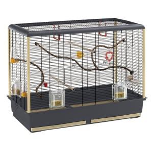 Vogelkäfig kaufen: Ferplast Vogelkäfig Piano 6, Komplettausstattung, schwarzes Gitter für Vogelkäfig Wellensittich