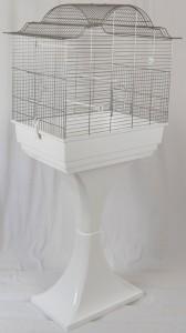 Vogelkäfig mit Ständer in weiß
